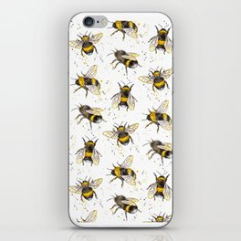 Fluffy Bumblebees (Pattern) iPhone Skin