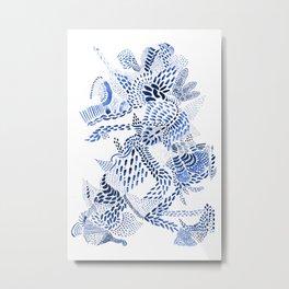 blue dragon on white Metal Print