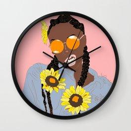 Believe in Yo Juice - Digital Black Goddess Vector Drawing Wall Clock