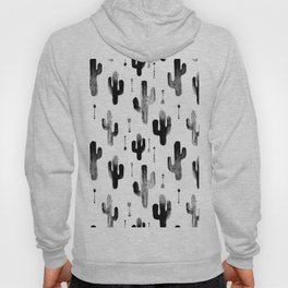 Black and white ink cactus garden indian summer Hoody