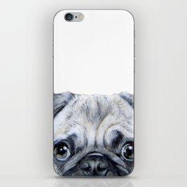 pug Dog illustration original painting print iPhone Skin