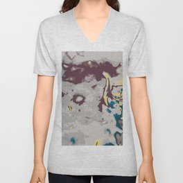 green yellow brown and grey abstract background Unisex V-Neck