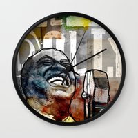 louis armstrong Wall Clocks featuring Louis Armstrong: Hello Dolly! by Ed Pires