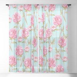 Pink Peonies Sheer Curtain