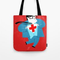 heroes Tote Bags featuring Heroes by Simone Massoni