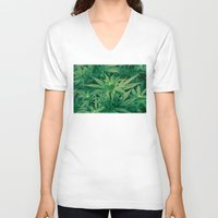 marijuana V-neck T-shirts featuring Marijuana Plants  by Limitless Design