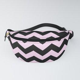 Black and Pink Lace Pink Horizontal Zigzags Fanny Pack
