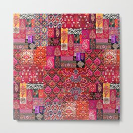 N98 - Traditional Heritage Boho Oriental Moroccan Collage Style. Metal Print