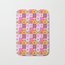 Maroccan tiles pattern with pink Bath Mat