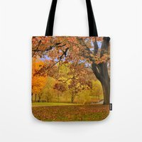 wes anderson Tote Bags featuring Fall at Larz Anderson by LudaNayvelt