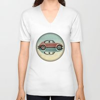 bug V-neck T-shirts featuring love bug by Vin Zzep