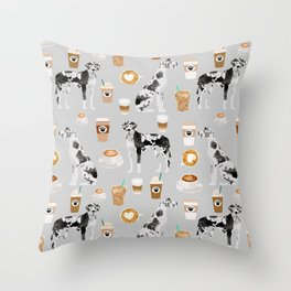 Great Dane coffee lover custom pet portraits by pet friendly dog breed illustration Throw Pillow