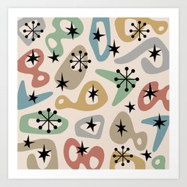 Retro Mid Century Modern Spaced Out Composition 331 Art Print