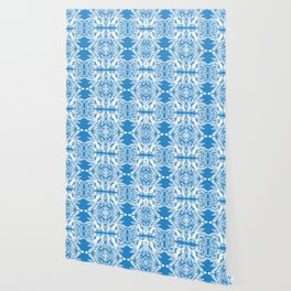 Blue and White Classy Psychedelic Wallpaper