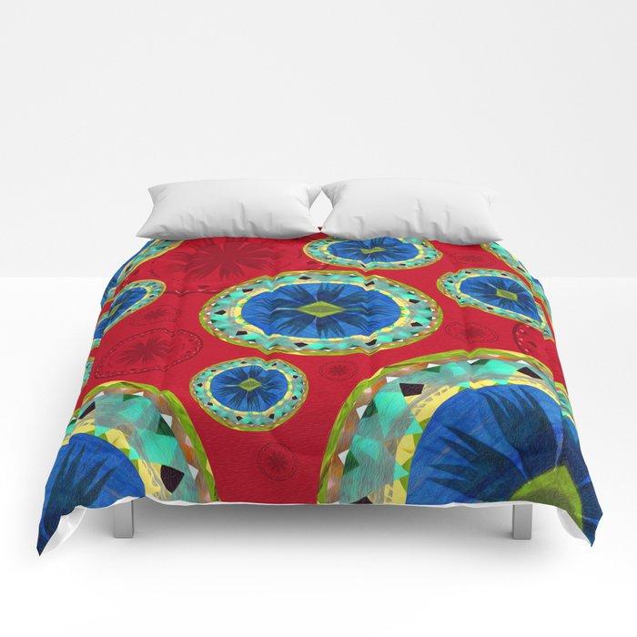 Deepest Crimson Red and Royal Blue Aztec Boho Mandalas Comforters