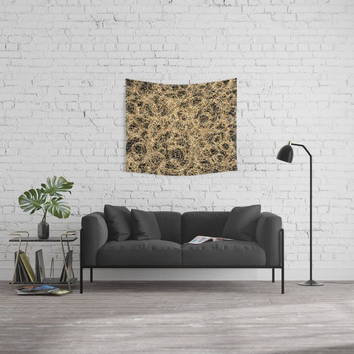 Gold Thread on Black | Abstract Brain Map 3 Wall Tapestry