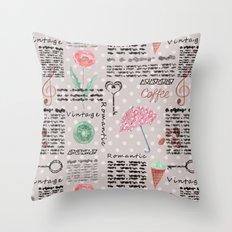 Vintage , romantic pattern. Throw Pillow