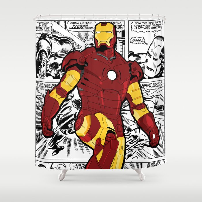 Iron Man Comic Shower Curtain