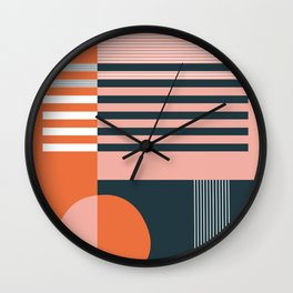 untitled 4 - red, pink, black & white shapes Wall Clock
