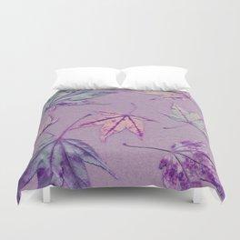 Japanese maple leaves - cerise and pistachio green on light purple Duvet Cover