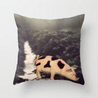 pig Throw Pillows featuring Pig by BlueMoonArt
