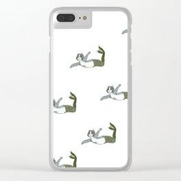 Mermaid Cat Motif Clear iPhone Case