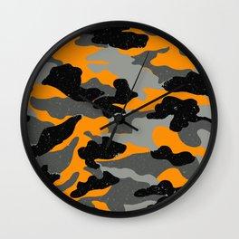 Orange Camo Wall Clock