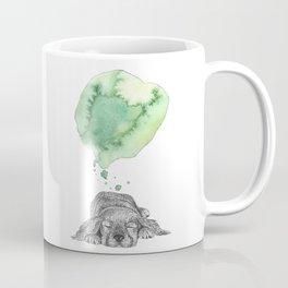 Dreaming Puppy - Green Watercolor Coffee Mug