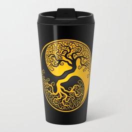 Yellow and Black Tree of Life Yin Yang Travel Mug