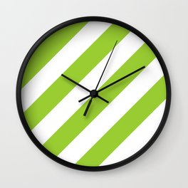 Yellow green diagonal striped pattern Wall Clock