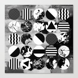 Eclectic Circles - Black and white, abstract, geometric, textured designs Canvas Print