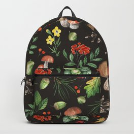 Watercolor Forest Mushrooms, Leaves, Flowers Backpack
