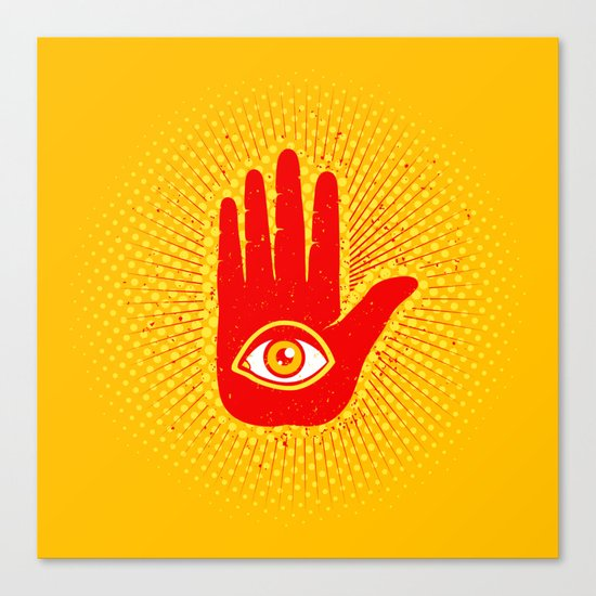 Hand and eye Canvas Print