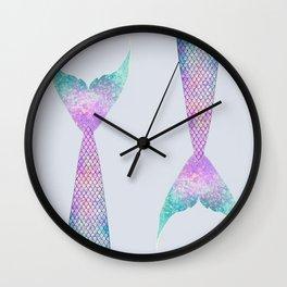 mermaid tail (purple & green) Wall Clock