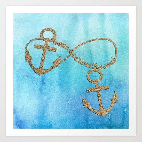 Hope anchors the soul - Sea Beach Anchor Water Art Print