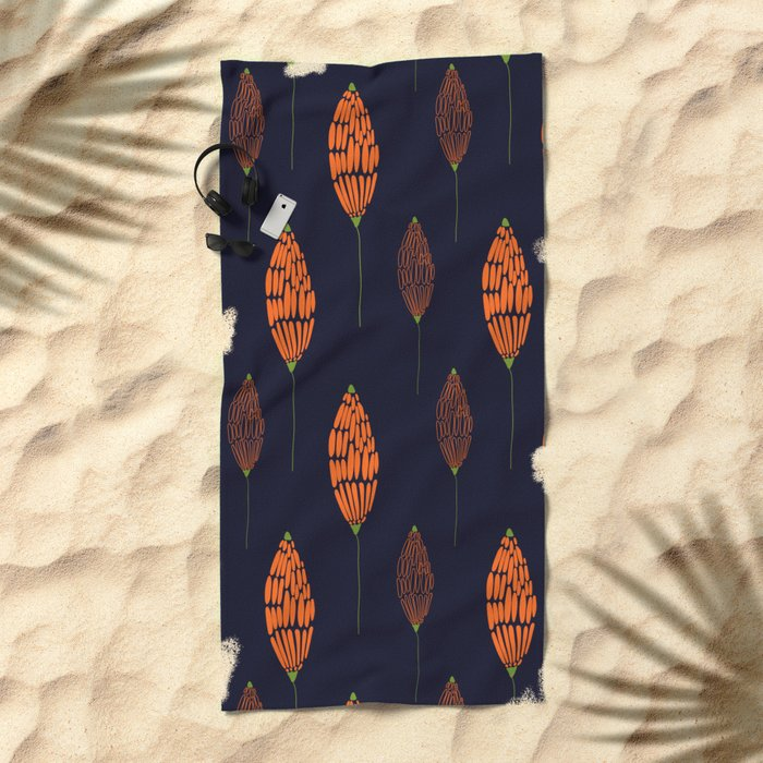 Abstract Floral Pattern Beach Towel