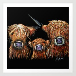 Scottish Hairy Highland Cows ' WE 3 COOS ' by Shirley MacArthur Art Print
