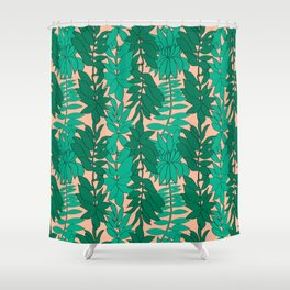 60's Chinoiserie Vines in Peach Shower Curtain