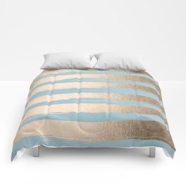 Painted Stripes Gold Tropical Ocean Sea Blue Comforters