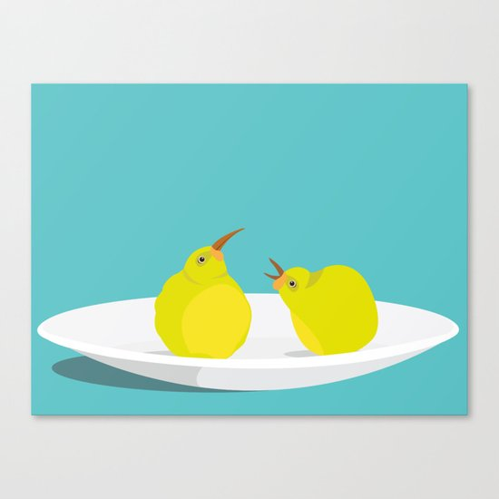 A Pear of Birds Canvas Print