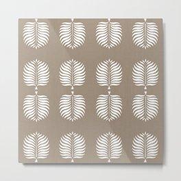 TROPICAL PALMS . COCOA + WHITE Metal Print