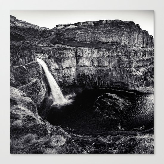 Hidden Waterfall Black and White Canvas Print