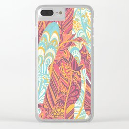 Modern abstract pink teal yellow hand painted bohemian feathers Clear iPhone Case