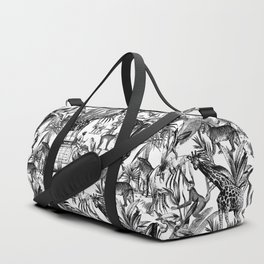 Africa Meets India Black And White Duffle Bag
