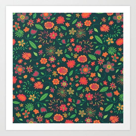 Spring Florals Green Art Print