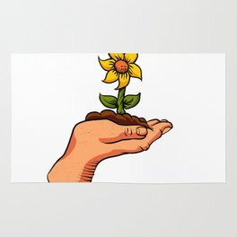 cartoon flower growing in palm of hand Rug
