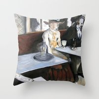 degas Throw Pillows featuring Degas' Goat Drinking Absinthe  by MollyK