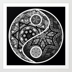 Yin Yang Zentangle Art Print