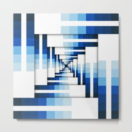 Geometric Layers of Blue Metal Print