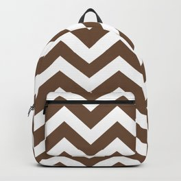 Tuscan brown - brown color - Zigzag Chevron Pattern Backpack